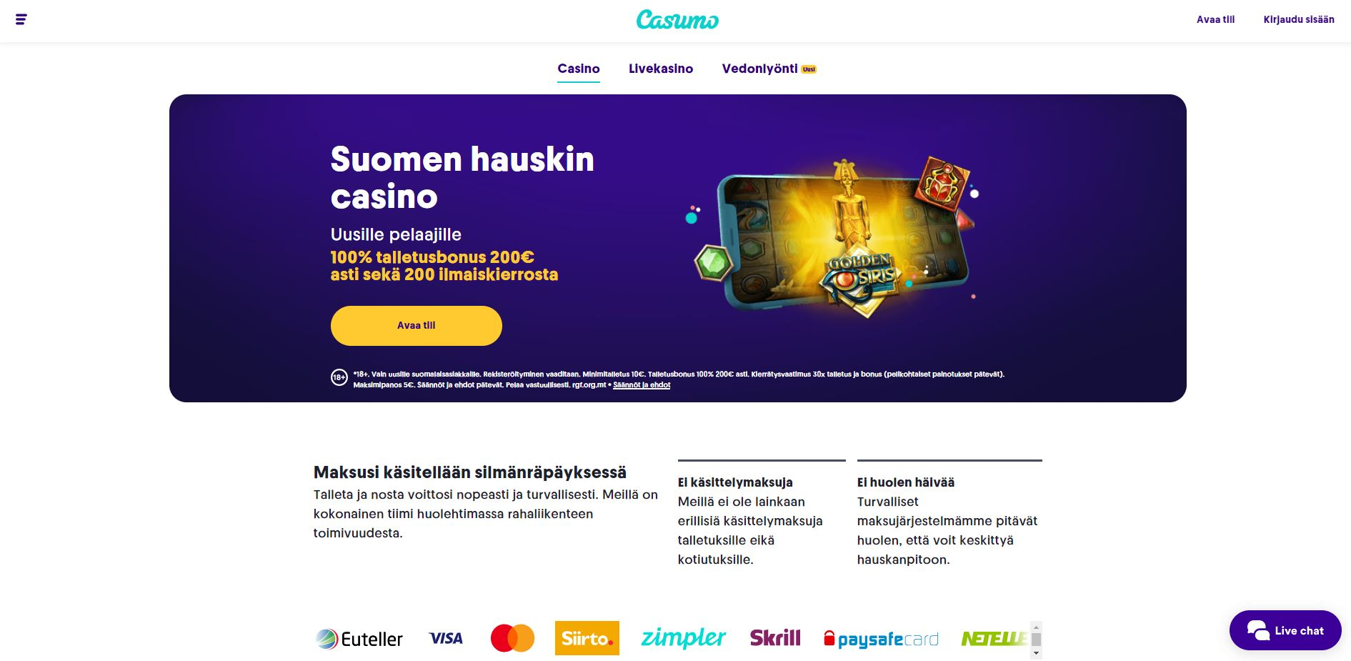 Casumo finnish home page
